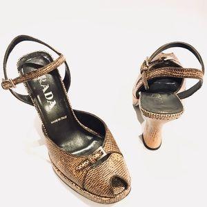 PRADA Snake skin Peep Toe slingback platform heels